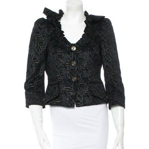 Just Cavalli Velvet Black/Gold Fitted Jacket Sz38
